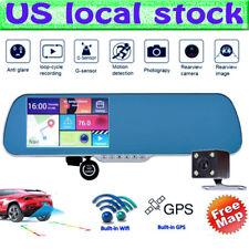 "US 5.0"" Android Car HD 1080P Rear View Mirror DVR Dual Lens Camera Recorder GPS"