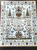 """Hands Across the Sea Samplers """"Oh my Soul"""" Ann Tong 1835 cross stitch chart"""