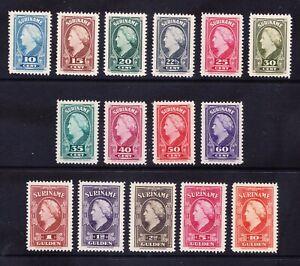 SURINAME 1945 SG322/36 Queen Wilhelmina set of 15 superb unmounted mint cat£350