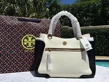 TORY BURCH FRANCES COLORBLOCK SATCHEL NEW IVORY/BARK/BLACK NWT $525 +GIFT BAG
