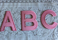 100% EMBROIDERY IRON ON LARGE LETTER PATCH ALPHABET SOFT BABY PINK & MORE 11x8cm
