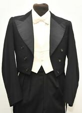 SUPERB BESPOKE WHITE TIE VINTAGE BLACK TAILCOAT SIZE 36 LONG 1930S