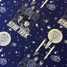 RPFCHE007 Star Trek Space Enterprise Krik Spock Movie Stars Cotton Quilt Fabric