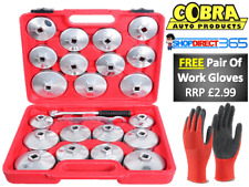 23PC Oil Filter Removal Wrench Set Loosen Tighten Cup Cap Socket Garage Tool 6-3