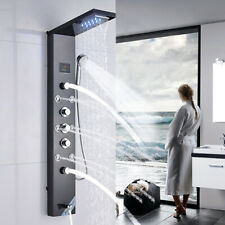 Brushed Black Shower Panel Tower LED Rainfall Waterfall Massage System Body Jets