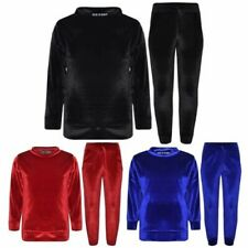 Kids Jogging Suit Girls Plain Velour Hoodie Bottom Lounge Suit Tracksuit 5-13 Yr