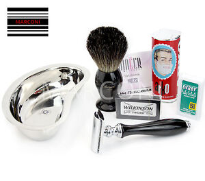 Luxury Shaving Set - Safety Razor, Badger Brush, Shaving Soap, Bowl & Blades