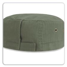 Beechfield Urban Army Cap Mens Womens Sun Visored Hat Vintage Olive