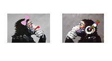 POSTER lady girl  Art Print DJ MONKEY ape chimp PAINTING 80cm x 50cm STREET