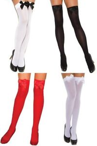 Opaque Thigh Hi w/Satin Bow! Plus & One Size 5 Colors Adult Woman Clothing