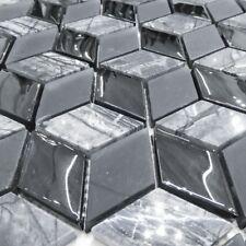 3D Nero Glass Square Mosaic Tiles Walls Floors Bathroom Kitchen