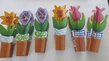 6 Garden HandPainted Lawn Flower wood Ornaments, row markers,tulips,sunflower,FS