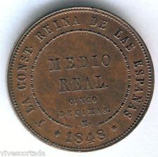 Isabel II 1/2 Real 5 Decimas 1848 Segovia @@ SIN CIRCULAR @@