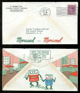 p711 - VANCOUVER 1945 Blackout Cancel on ADVERTISING Cover - Monaseal Oil