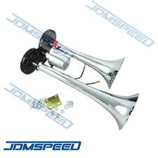 Truck Train Boat RV 150db Super Loud Dual Trumpet Air Horn Chrome W/Solenoid