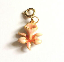 Joan Rivers Pink Peach Orchid Flower Charm Gold Overlay