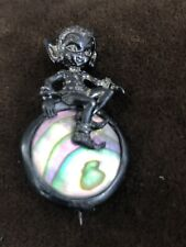 Pixie Elf Very RARE Antique Vtg Sterling Silver Mother Of Pearl Pixie Brooch Pin