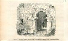 Inscription Auguste Maison de La Turbie Alpes-Maritimes GRAVURE OLD PRINT 1853