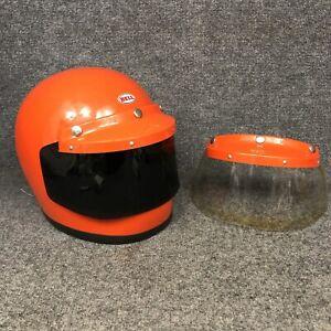 Vintage 1970 Orange Bell Star Helmet W/2 Visors & Shields Excellent Condition