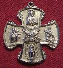 Vintage Catholic Religious Medal - STERLING - SCAPULAR CROSS - HOLY SPIRIT DOVE