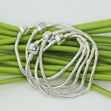 5Pcs Silver Plated 19cm Snake Chain European Charm Beaded Bracelet Plain Clasp