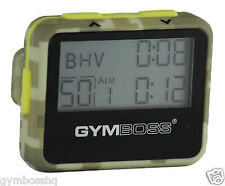GYMBOSS INTERVAL TIMER & STOPWATCH GREEN CAMO / YELLOW SOFTCOAT SHIP FROM CANADA