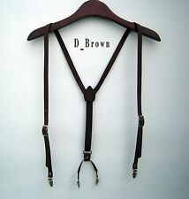 Mens Leather Suspenders Y-Back Retro Braces Clip-On belt new Dark-Brown