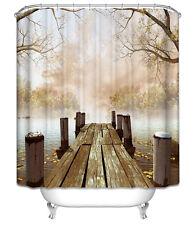 Rustic Dock Shower Curtain Lake Cabin Lodge Fall Leaves Fog Fishing Wood Bridge
