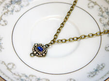 Blue Bead and Rhinestone 18 Inch Necklace Antique Brass Tone