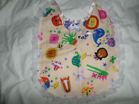 ANIMAL PARTY   ADULT BABY SISSY BIB LACE TRIMMED WHITE SATIN TIES PLASTIC BACKED