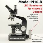 LED illuminator retrofit Kit with dimmer control for older NIKON-S microscopes.