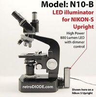 LED illuminator retrofit Kit with dimmer control for older NIKON-S microscopes.