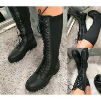 Womens Lace Chunky Sole Knee High Biker Boots Ladies Calf Stretch Combat Shoes
