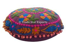 """Vintage Suzani Cushion Cover 16"""" Embroiderd Round Pillow Case Home Decor Cushion"""