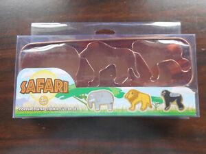 SAFARI 3 PC COPPER PLATED COOKIE CUTTER SET IN STORAGE TIN ELEPHANT LION GORILLA