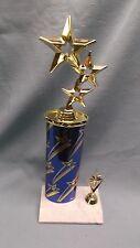 multi STAR trophy award oval blue colun white marble base