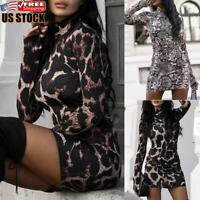 Women's Turtleneck Leopard Printed Bodycon Dress Ladies Long Sleeve Party Dress