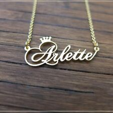 Customized Name Crown Necklace Handmade Jewelry Personalized Cursive Font