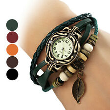 WOMEN'S BOHEMIAN LEAF WRIST WATCH LEATHER BRACELET WRAP DRESS WRISTWATCH GREEN