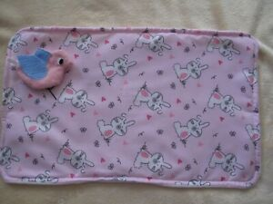 dolls changing mat for 14inch dolls pink with rabbits fabric  14 by 9 in