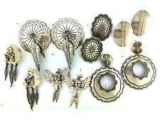 Sterling Silver BIG Native American Styles Feathers MIXED LOT Post Earrings