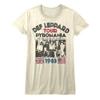 Def Leppard Pyromania USA Tour 1983 Women's T Shirt Rock Band Top Concert Merch