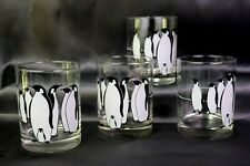 Penguins Low Ball Old Fashioned Glass Tumblers 14 oz Black & White Bird Set of 4