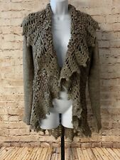 John Fashion Sweater M Taupe Drape Boho Crochet Long Sleeve Wool Blend