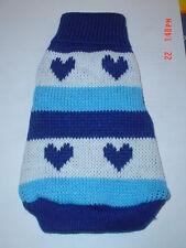 Very Cute Blue Love Heart Dog Knitted Sweater Jumper XS