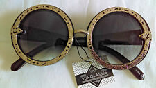 Skull Motif Round Shaped Ladies Sunglasses  - Adult Size - Silver or Gold Rim