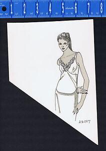 Women's 1970s Lingerie Advertising Pen & Ink Drawing - Chimise/Slip