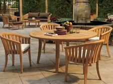 "Lenong 5-pc Outdoor Teak Dining Patio Set: 52"" Round Table, 4 Arm Chairs"