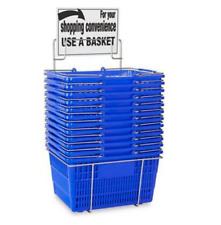 New! Hand-Held Shopping Baskets with Rack - Blue