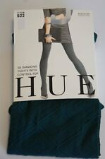 Hue Tights Sz 1 Bottle Green 3D Diamond Tights With Control Top Style # 13634